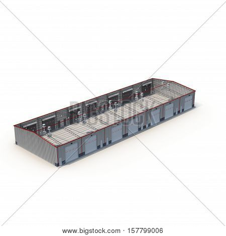 Small warehouse building on white background. Roof removed. 3D illustration