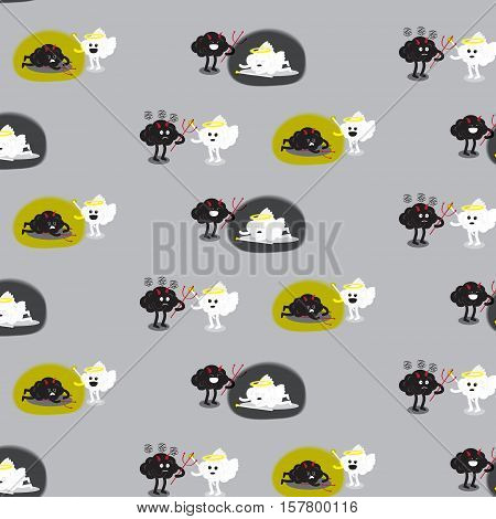 brain cartoon characters vector illustration pattern background showing angel and devil fighting together that has different scenes of a winner (conceptual image about human moral)