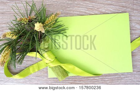 Branches with pine cones and Christmas card. Christmas bouquet of pine branches and green greeting card on wooden background. Christmas bouquet of pine branches tied with light green ribbon.