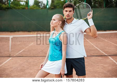 Tennis models on court. so pretty image