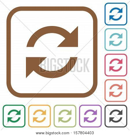 Refresh simple icons in color rounded square frames on white background