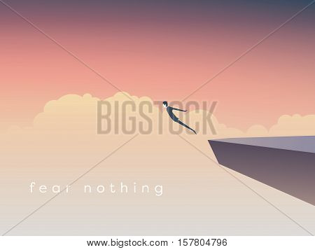 Business concept of courage. Businessman jumping off a cliff as a sign of brave leadership and step forward. Eps10 vector illustration.