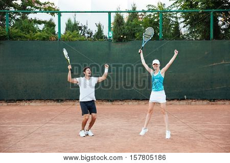 Won tennis players. so happy couple