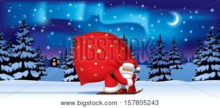 Santa Claus by ski carrying a big red sack against the night winter forest in snow under starry sky with northern lights. Christmas and New Year mug design and greeting card. Vector Illustration