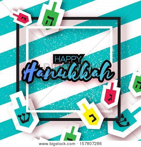 Happy hanukkah with dreidels - spinning top. Jewish holiday on blue stripes background with square frame for text. Vector Illustration.