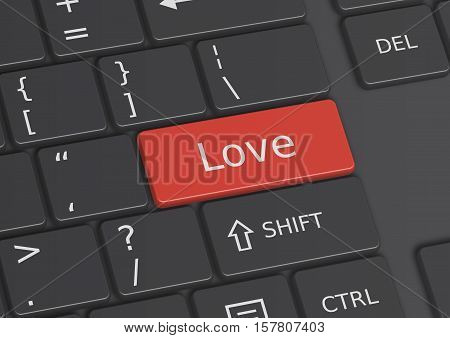 The word Love written on a red key from the keyboard