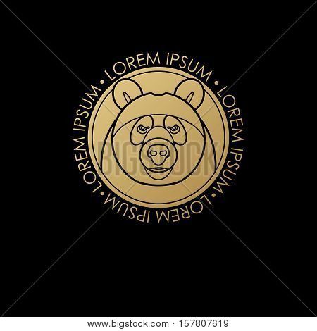 Predatory animal print gold foil on a black background. Vector illustration of a bear. Designed to create a logo icon in modern style mono line. Symbol of strength.