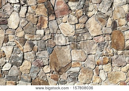 Outdoor Surrounding Wall Made of Uneven Stones