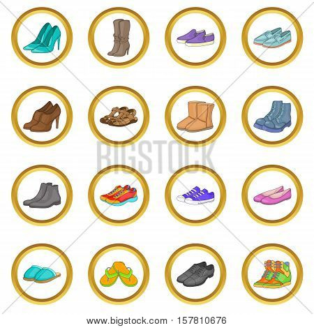 Shoe vector set in cartoon style isolated on white background