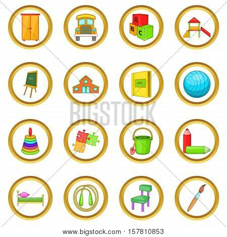 Kindergarten security vector set in cartoon style isolated on white background
