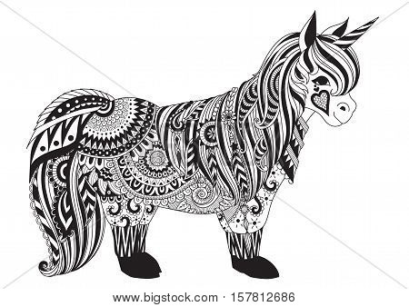 Zendoodle design of pony for adult coloring book, T-Shirt design and so on.