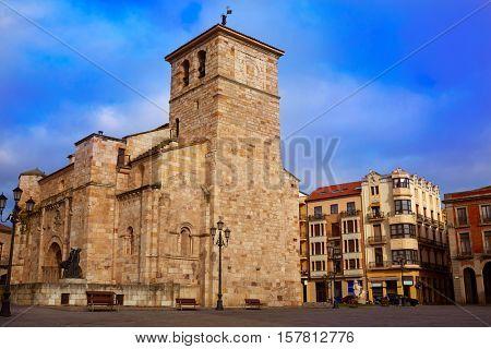 Zamora San Juan church in Plaza Mayor at spain