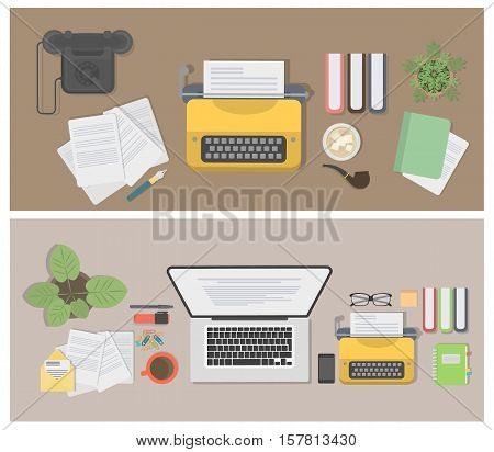Writer desk mockup set. Vintage desk with typewriter, notes and telephone. Workplace of writer or journalist.