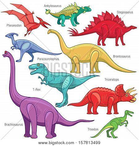 Ankylosaurus Brontosaurus Stegosaurus triceratops velociraptor tyrannosaurus Brachiosaurus pterodactyl. Set Jurassic reptile vector illustration cartoon dinosaur isolated on white background.