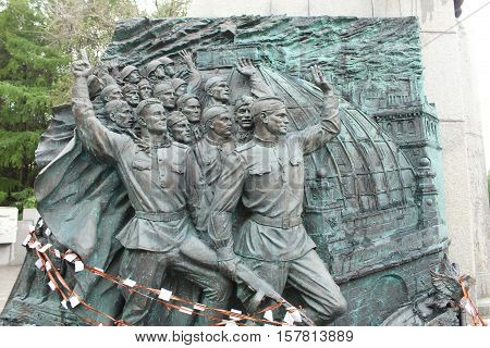 Moscow, Russia May 24, 2016 Fragment of the monument to the unity of the peoples on Poklonnaya Hill