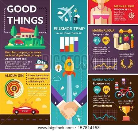Good Things - info poster, brochure cover template layout with flat design icons, other infographic elements and filler text