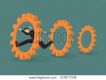 Professional businessman running through cog gears. Cartoon vector illustration on business metaphor isolated on plain background.