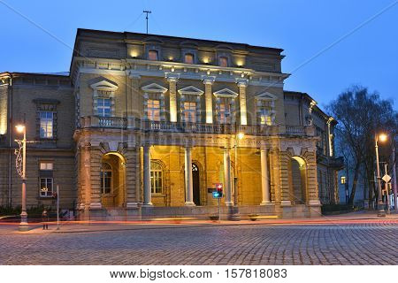 VILNIUS NOVEMBER 21: Old Library of Lithuanian Academy of Sciences on November 21 2016 in Vilnius Lithuania. Vilnius is the capital of Lithuania and its largest city.