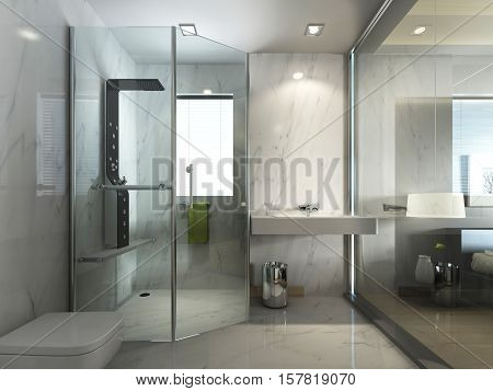 Transparent Glass Bathroom With Shower And Wc.