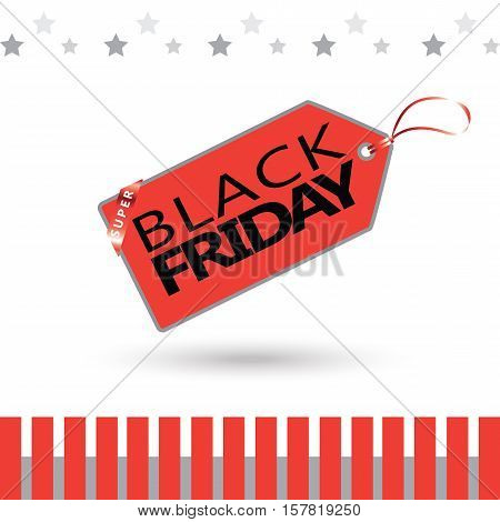 Black Friday sale red sticker vector isolated on white background. Discount or special offer price sign on Black Friday. Sale banner. Promo offer on black friday. Special offer sale red sticker. Discount tag for Black Friday. Special offer black friday ba