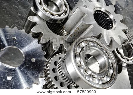 titanium and steel cogwheels and gears used in aerosopace industry