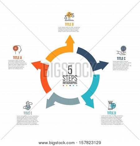 Vector arrows infographic. Template for cycle diagram, graph, presentation and round chart. Business concept with 5 options, parts, steps or processes. Data visualization.