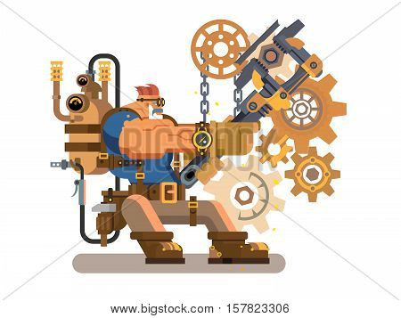 Steam engineer. Worker engineering, repairman and wrench, heat and flame, boiler machine, flat vector illustration