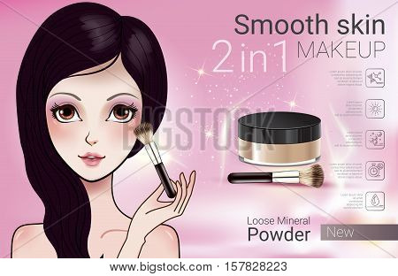 Velvet Loose Powder ads. Vector Illustration with Manga style girl and makeup loose mineral powder product.