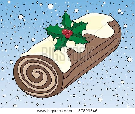 an illustration of stylized christmas chocolate log cake with frosting cream swirl and holly decoration on a snowy background