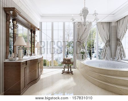 Luxury Neoclassical Furniture In Modern Style In The Bathroom.