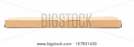 Closed long narrow cardboard box isolated over white background