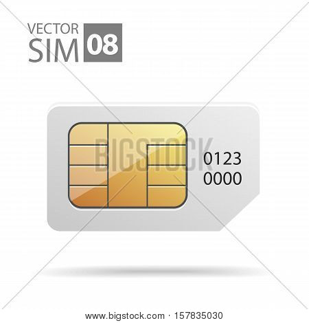 Vector icons of the chip in the SIM card