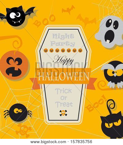 Poster, banner or background with message for Halloween Night Party in flat style. Vector.