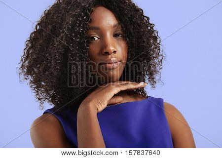 Pretty Closeup Portrait Of Black Woman With Curly Hair