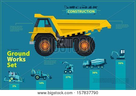 Yellow truck. Blue infographic big set of ground works, blue machines vehicles. Catalog page. Heavy construction equipment for building truck digger crane bagger mix. Transportation master vector.