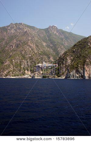 athos mountain with monastery