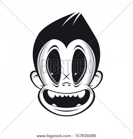 black and white vintage cartoon face