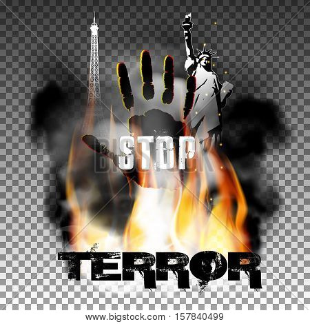 stop terror against fire smoke with the hand, the statue of liberty and the Eiffel Tower. Isolated objects can be used with any text or image. The Statue of Liberty is made independently brush tool.