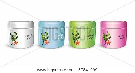 Alginate Peel-Off Powder facial Mask in different color of packages. Vector illustration of realistic Alginate Mask containers isolated on white background.