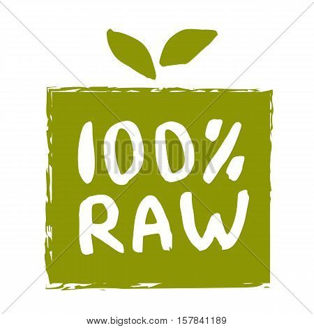 Raw food hand drawn label isolated vector illustration. Healthy food symbol. Raw icon. Logo for vegetarian restaurant menu, vegan cafe, farm market and organic products packaging. Raw food lettering