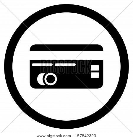 Credit Card vector rounded icon. Image style is a flat icon symbol inside a circle, black color, white background.