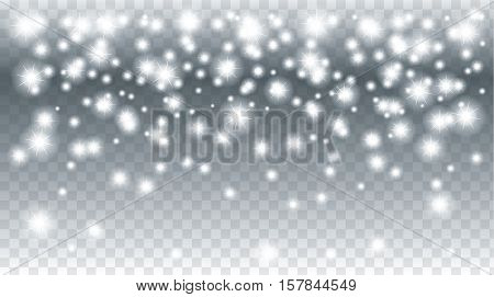 Snow falling background. Vector magic Christmas snowfall poster. White glitter snowflakes falling down on transparent background.