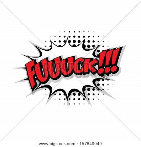 Lettering fuck. Comic text sound effects pop art style vector. Sound bubble speech phrase comic text cartoon expression sounds illustration. Comic text background template