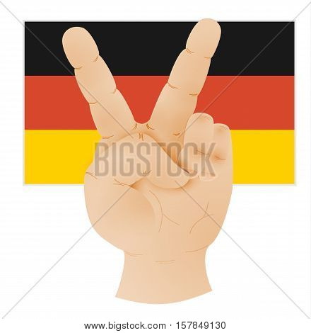Hand Showing Peace Sign And Flag Of Germany