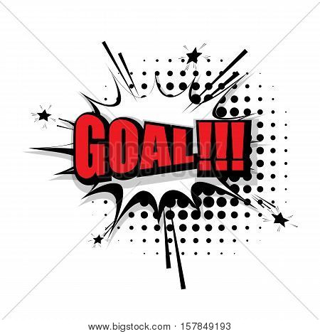Lettering goal. Comic text sound effects pop art style vector. Sound bubble speech phrase comic text cartoon expression sounds illustration. Comic text background template
