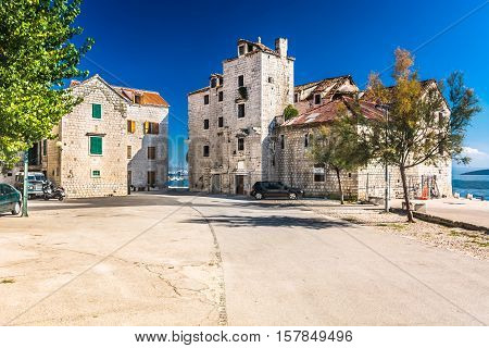 View at old stone architecture in place Kastela, suburb of town Split, Croatia.