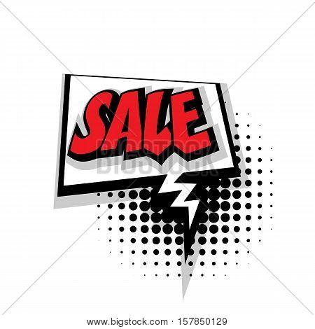 Lettering sale. Comic text sound effects pop art style vector. Sound bubble speech phrase comic text cartoon expression sounds illustration. Comic text background template