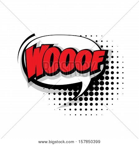 Lettering woof. Comic text sound effects pop art style vector. Sound bubble speech phrase comic text cartoon expression sounds illustration. Comic text background template