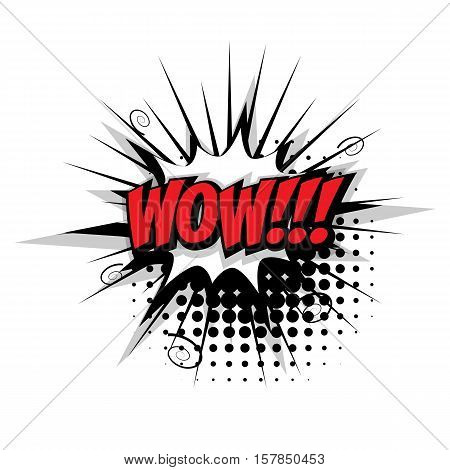Lettering wow. Comic text sound effects pop art style vector. Sound bubble speech phrase comic text cartoon expression sounds illustration. Comic text background template