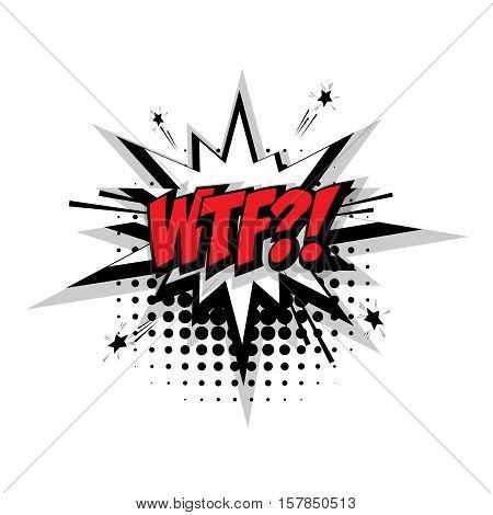 Lettering wtf. Comic text sound effects pop art style vector. Sound bubble speech phrase comic text cartoon expression sounds illustration. Comic text background template